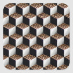 Leopard Black White Shaded 3D Look Cubes Stickers