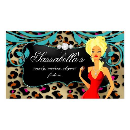 Leopard Blonde Business Card Blue Swirls Jewelry