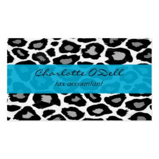 leopard; blue business card