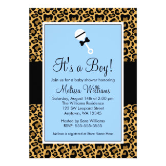 Leopard Blue Rattle Baby Shower Invitations