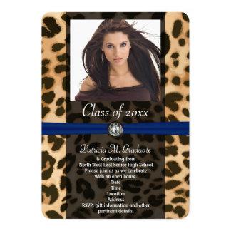 Leopard Blue Ribbon Photo Graduation 5x7 Paper Invitation Card