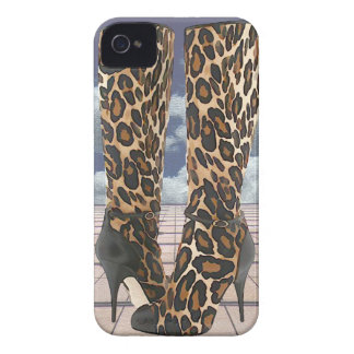 Leopard Boots with Ankle Straps iPhone 4 Cover