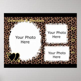 Leopard Border Custom Wedding Photo Poster
