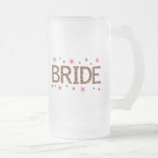 Leopard Bride Frosted Glass Beer Mug