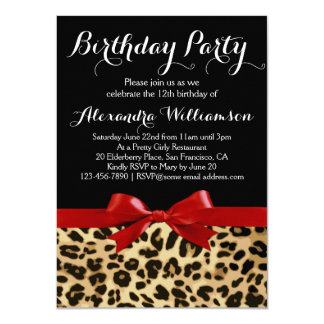 Leopard Bright Red Bow Girl's Birthday Party Card