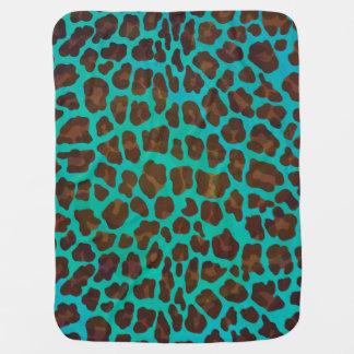 Leopard Brown and Teal Print Baby Blanket
