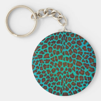 Leopard Brown and Teal Print Basic Round Button Keychain