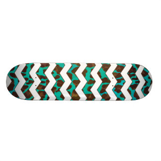 Leopard Brown and Teal Print Skateboards