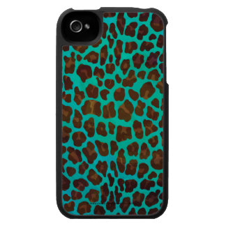 Leopard Brown and Teal Print iPhone 4 Cases