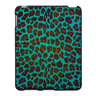 Leopard Brown and Teal Print iPad Cover