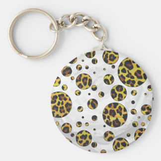 Leopard Brown and Yellow Polka Dot Basic Round Button Keychain