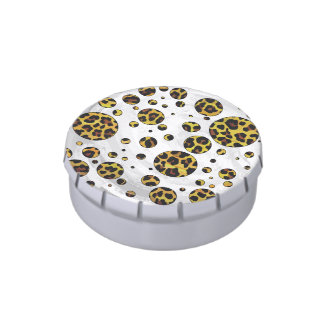 Leopard Brown and Yellow Polka Dot Candy Tin