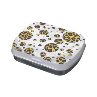 Leopard Brown and Yellow Polka Dot Jelly Belly Candy Tins