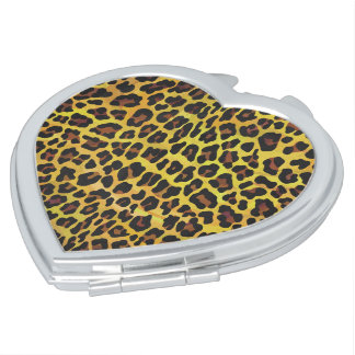 Leopard Brown and Yellow Print Travel Mirrors