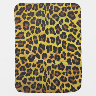Leopard Brown and Yellow Print Swaddle Blanket