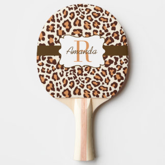Leopard Brown Tan Cream Ping Pong Paddle