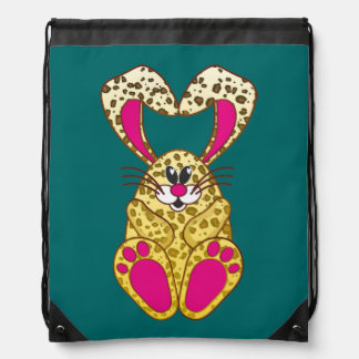 Leopard bunny drawstring backpack