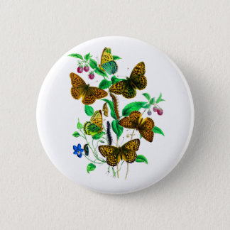 Leopard Butterflies and Red Raspberries Button
