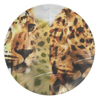 Leopard Cat Abstract Dinner Plate