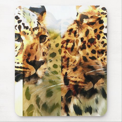 Leopard Cat Abstract Mouse Pad