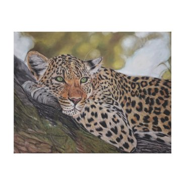 Art Themed Leopard cat lying in a tree canvas print