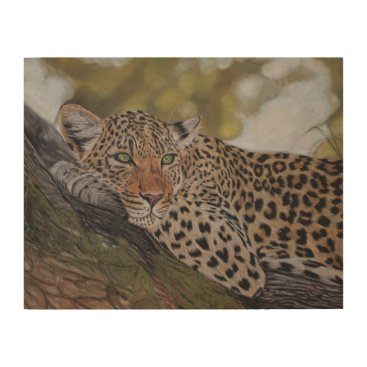 Art Themed Leopard cat lying in a tree wood print
