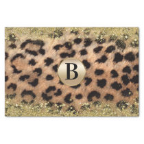 Leopard Cheetah Animal Print Gold Glitter Monogram Tissue Paper