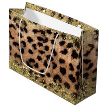 Leopard Cheetah Animal Print Gold Glitter Trendy Large Gift Bag