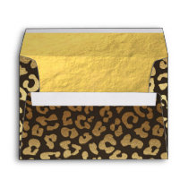 Leopard Cheetah Animal Skin Print Modern Glam Gold Envelope