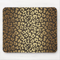 Leopard Cheetah Animal Skin Print Modern Glam Gold Mouse Pad