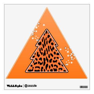 Leopard cheetah Christmas Tree Wall Decal