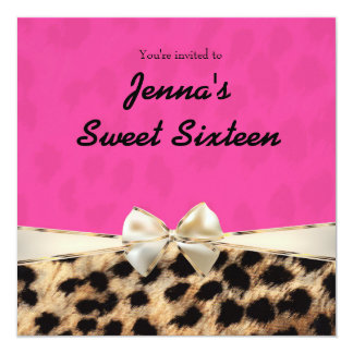 Leopard Cheetah Pink Bow Birthday Party Invitation