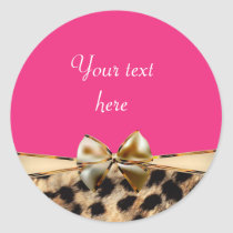 Leopard Cheetah Print Bow Pink Party Stickers