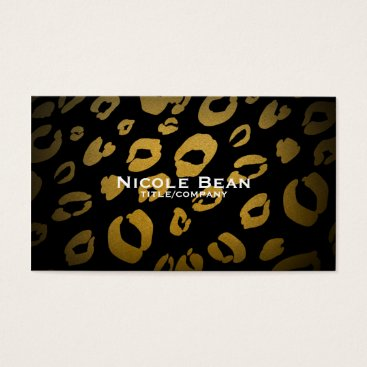 Professional Business Leopard Cheetah Print Gold & Black Business Card
