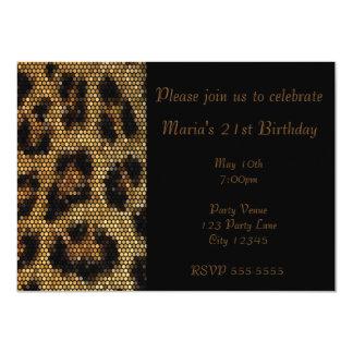 Leopard Cheetah Print Sparkle Party Invitation