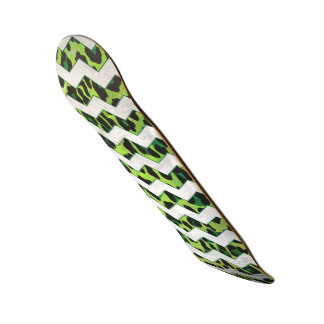 Leopard Chevron Black and Green Print Skateboard Deck