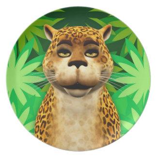 Leopard Children's Fun Cartoon Jungle Cat Plate