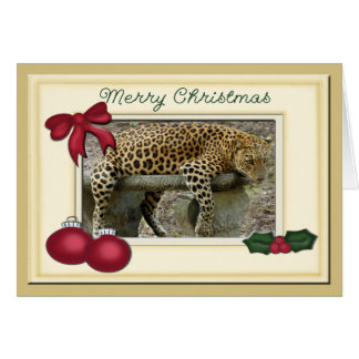 Leopard Christmas Greeting Card