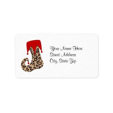 Christmas Themed Leopard Christmas Holiday Stocking Address Label