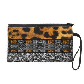 Leopard Crocodile Texture Wristlet Clutches