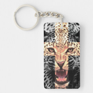 Leopard Cross Hipster Double-Sided Rectangular Acrylic Keychain