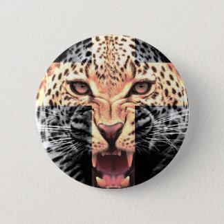 Leopard Cross Hipster Pinback Button
