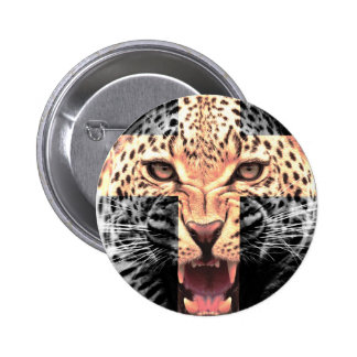 Leopard Cross Hipster Pinback Button