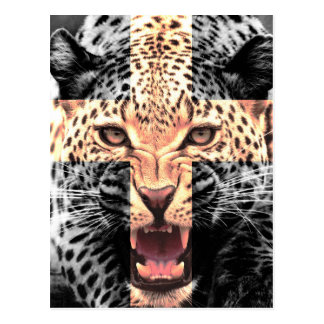 Leopard Cross Hipster Postcard