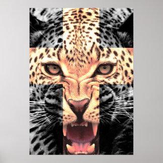 Leopard Cross Hipster Poster