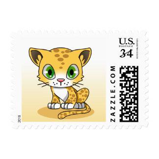 Leopard Cub Cartoon Postage Stamp
