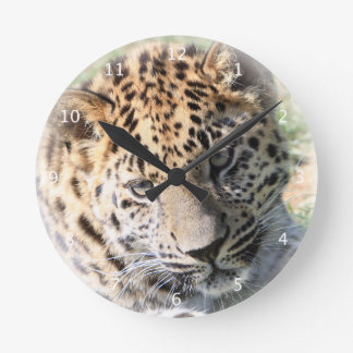 Leopard cub cute beautiful photo portrait round clock