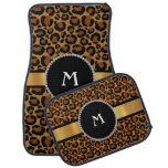 Leopard, Diamond, & Gold Personalized Monogram Car Floor Mat