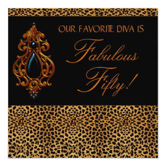 Leopard Diva Womans Fabulous 50 Birthday Party Invitation