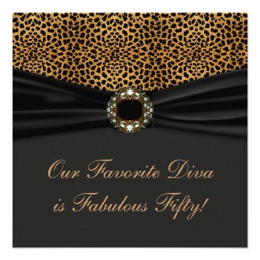 Leopard Diva Womans Fabulous 50th Birthday Party Custom Invitations